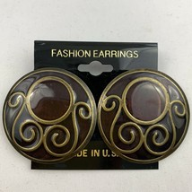Vintage Big Round Deep Dark Red Brass Tone Pierced Enamel Earrings NOS 8... - $14.80