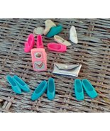 Barbie Accessories. Clutch Purse,  3 Pairs of Shoes and Radio. Vintage. ... - $17.00