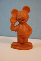 Mickey Mouse Brown Hard Plastic Toy Figure Walt Disney Productions - $11.30