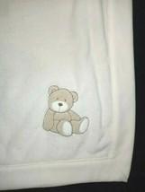 CARTER'S Beige Bear Baby Blanket Plush Satin Backside Unisex Brown 28x33... - $11.65