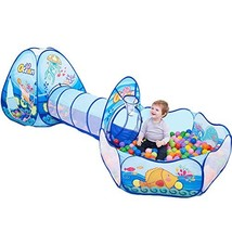 Maudre 3PC Kids Play Tent Crawl Tunnel and Ball Pit with Basketball Hoop for Gir