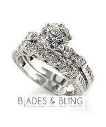 Wedding 2 ring set size 11 CZ Engagement Bridal Plus Size Promise c05 - $21.06