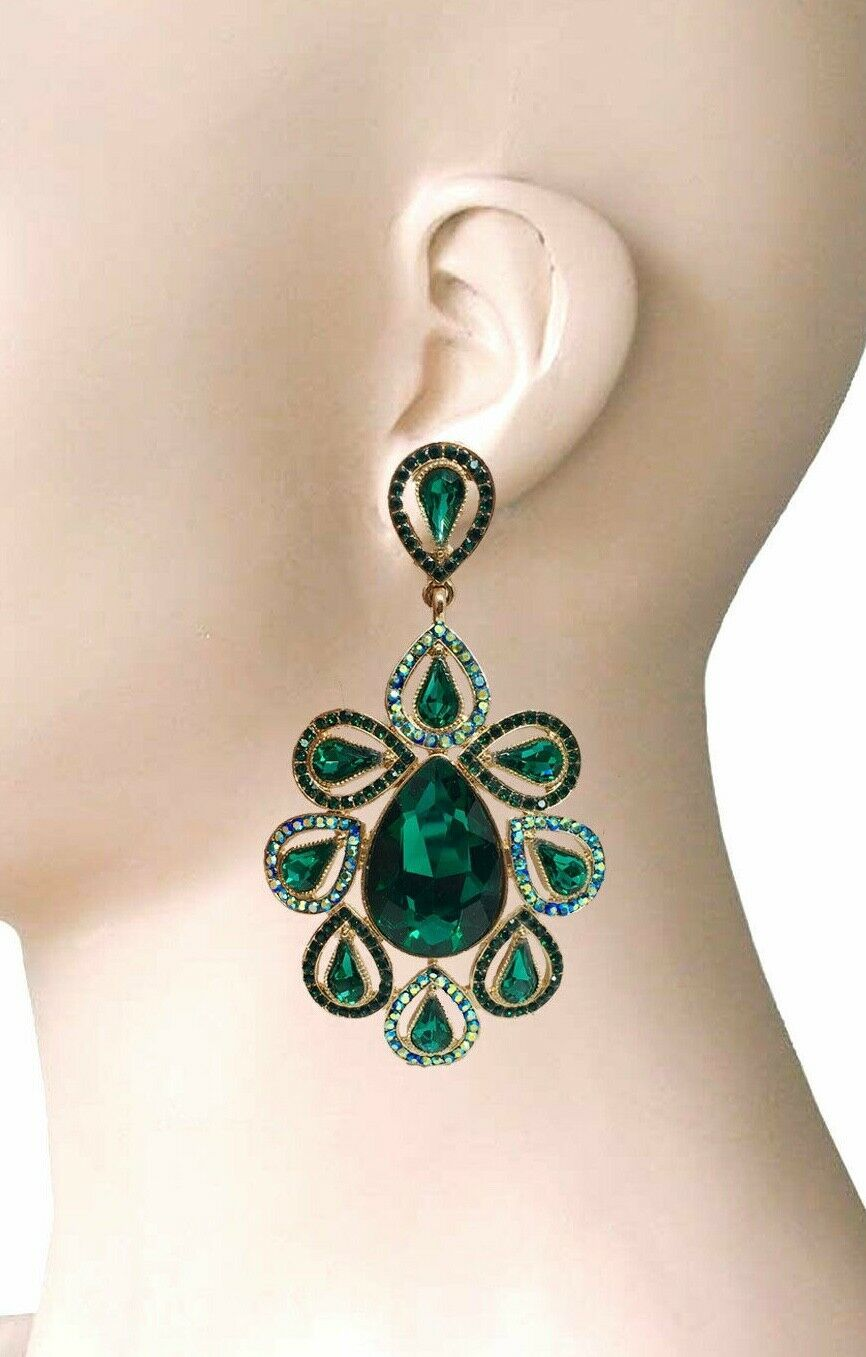 "Primary image for 3.75"" Long Oversized Green Crystals Clip On Earrings Drag Queen Pageant, Bridal"