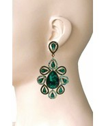 "3.75"" Long Oversized Green Crystals Clip On Earrings Drag Queen Pageant,... - $24.70"