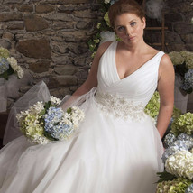 V-neck Organza A-line Wedding Dress  at Bling Brides Bouquet online Brid... - $499.99