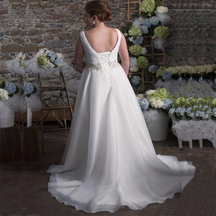 V-neck Organza A-line Wedding Dress  at Bling Brides Bouquet online Bridal Store image 3