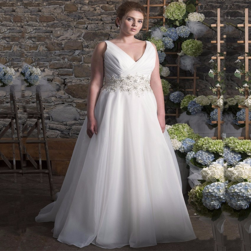 V-neck Organza A-line Wedding Dress  at Bling Brides Bouquet online Bridal Store image 5