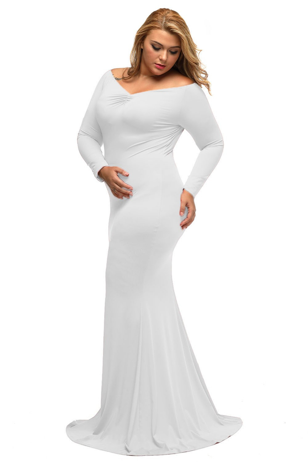 Plus Sized Maxi dresses with V neck at Bling Brides Bouquet - Online Bridal