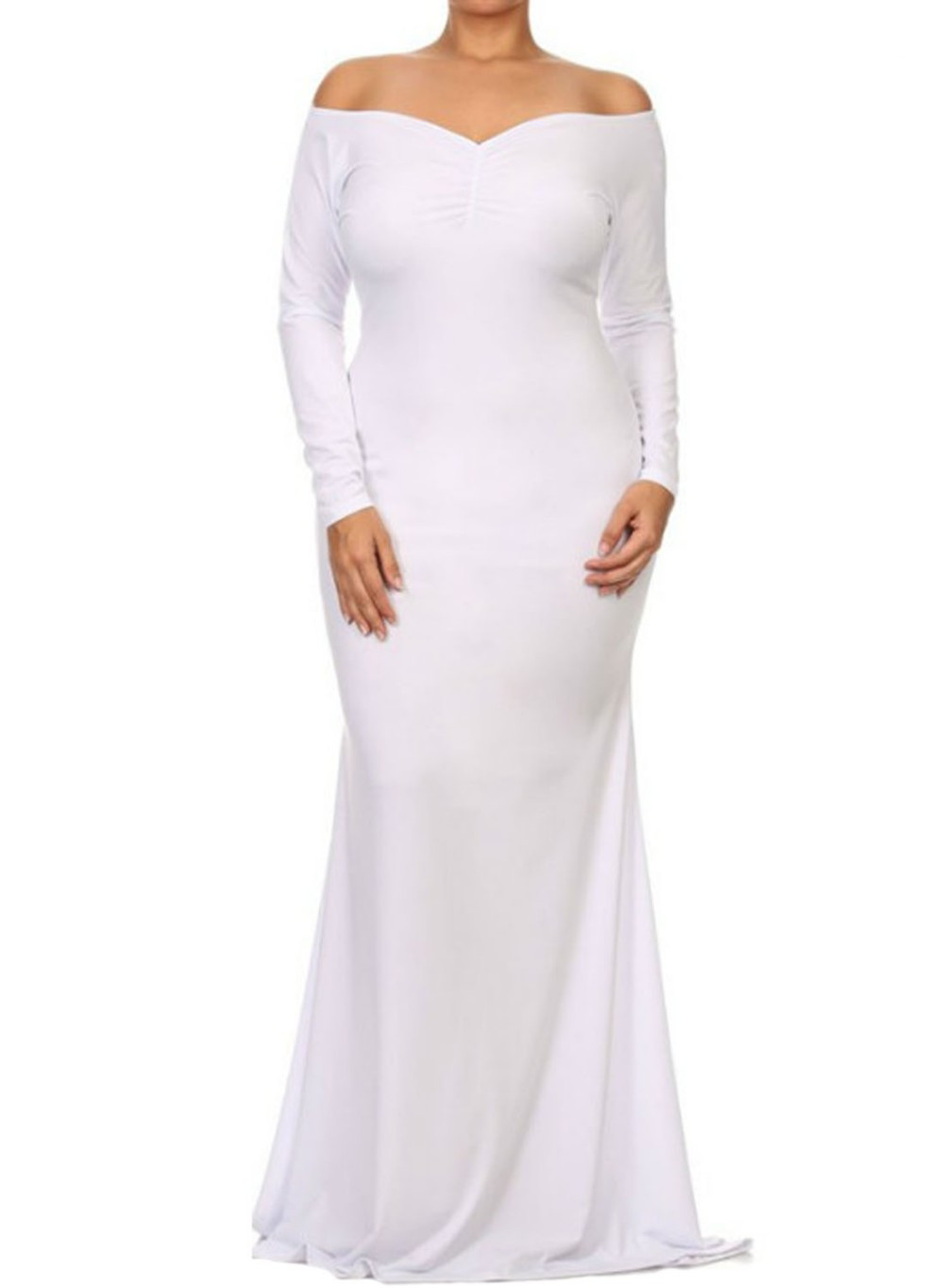 Plus Sized Maxi dresses with V neck at Bling Brides Bouquet - Online Bridal  image 3