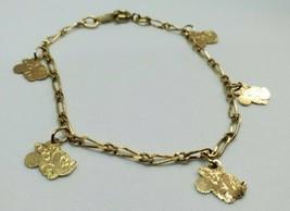 """Vintage Gold Tone Minnie Mouse Charm Bracelet Disney 7"""" - $15.00"""