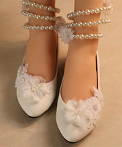 Pearls Wedding Shoes Bridal Ballet Slippers/Ivory Wedding Flats White Fl... - $38.00