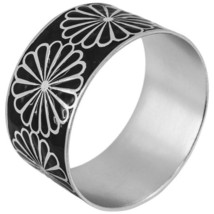 "Karine Sultan Silver Bangle Bracelet / Black Flower Design 1.5""W Made in France - $44.95"