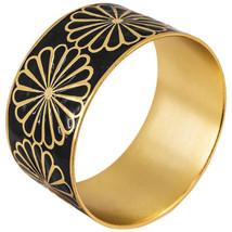 """Karine Sultan Gold Bangle Bracelet with Black Flower Design 1.5""""W Made i... - $44.95"""