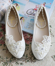 White Bridal Ballet Flats with Lace-up Ribbons/Spring Time Wedding Flats... - $38.00