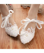 White Bridal Ballet Flats with Lace-up Ribbons/Wedding Ribbon Lace Up Sh... - $38.00