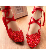 Red Bridal Ballet Flats with Lace-up Ribbons/Wedding Ribbon Lace Up Shoes  - $38.00