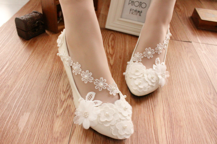 Ivory White Wedding Ballet Flat with Lace-up Ribbons/Bridal Ribbon Lace Up Shoes image 2