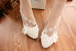 Ivory White Wedding Ballet Flat with Lace-up Ribbons/Bridal Ribbon Lace Up Shoes image 3