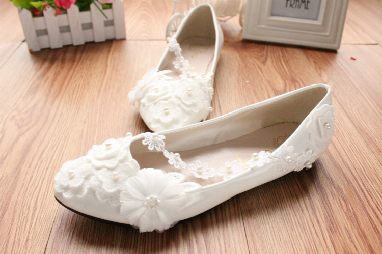 Ivory White Wedding Ballet Flat with Lace-up Ribbons/Bridal Ribbon Lace Up Shoes image 5