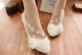 Ivory White Wedding Ballet Flat with Lace-up Ribbons/Bridal Ribbon Lace Up Shoes image 4