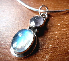 Faceted Rose Quartz Moonstone Two Stone 925 Sterling Silver Necklace New - €17,21 EUR