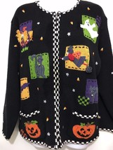Ugly Halloween Sweater Womens M Zip-Front Cardigan Witch Ghost Scarecrow... - $41.99
