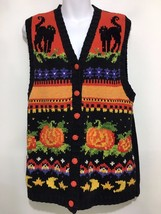Ugly Halloween Sweater Vest Women L Tiara International Black Cats Pumpkins - $38.07