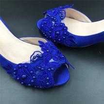 Blue Wedding Heel,Bridal Shoes,Lace Satin Wedding Shoes,Pump,Blue Peep Toe Heels image 3