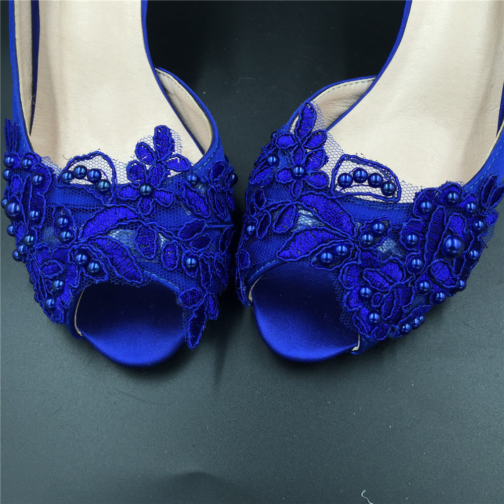 Blue Wedding Heel,Bridal Shoes,Lace Satin Wedding Shoes,Pump,Blue Peep Toe Heels image 4