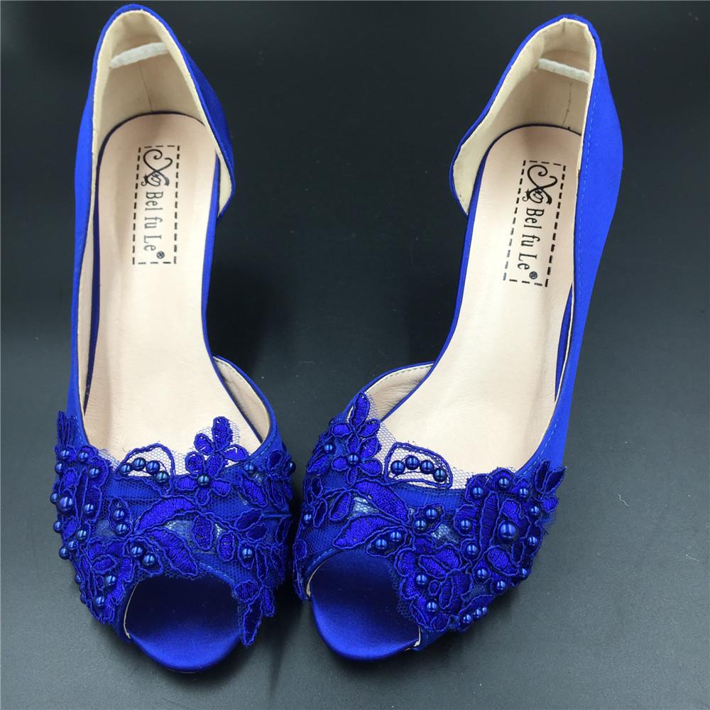 Blue Wedding Heel,Bridal Shoes,Lace Satin Wedding Shoes