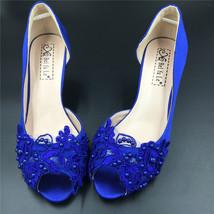 Blue Wedding Heel,Bridal Shoes,Lace Satin Wedding Shoes,Pump,Blue Peep Toe Heels image 2