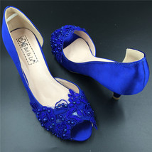 Blue Wedding Heel,Bridal Shoes,Lace Satin Wedding Shoes,Pump,Blue Peep T... - $48.00