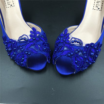 Blue Wedding Heel,Bridal Shoes,Lace Satin Wedding Shoes,Pump,Blue Peep Toe Heels image 5