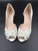 Ivory White Bridal Shoes,Lace Satin Wedding heels Shoes,Pump,Peep Toe Heels image 2