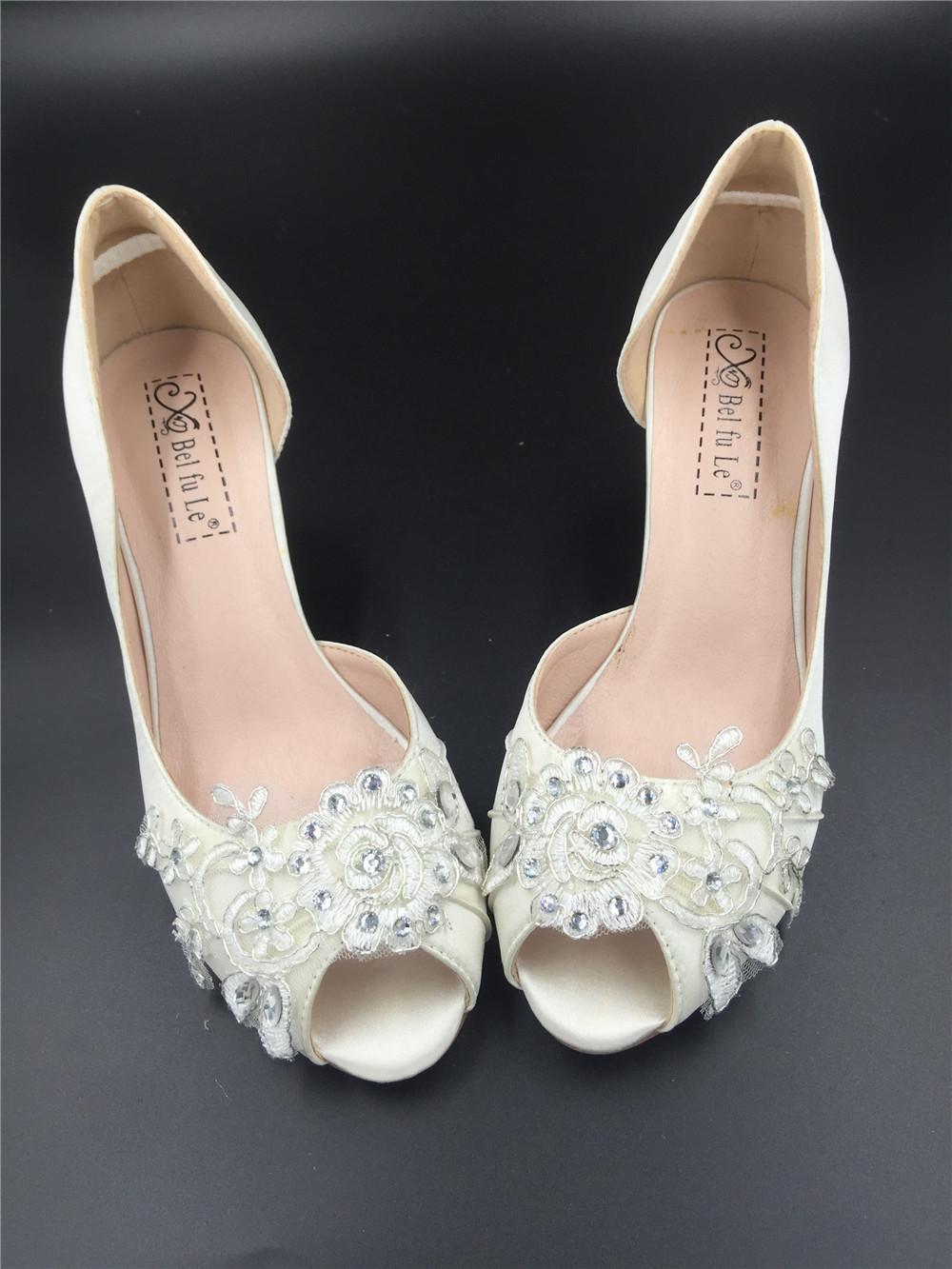 Ivory White Bridal Shoes,Lace Satin Wedding heels Shoes,Pump,Peep Toe Heels