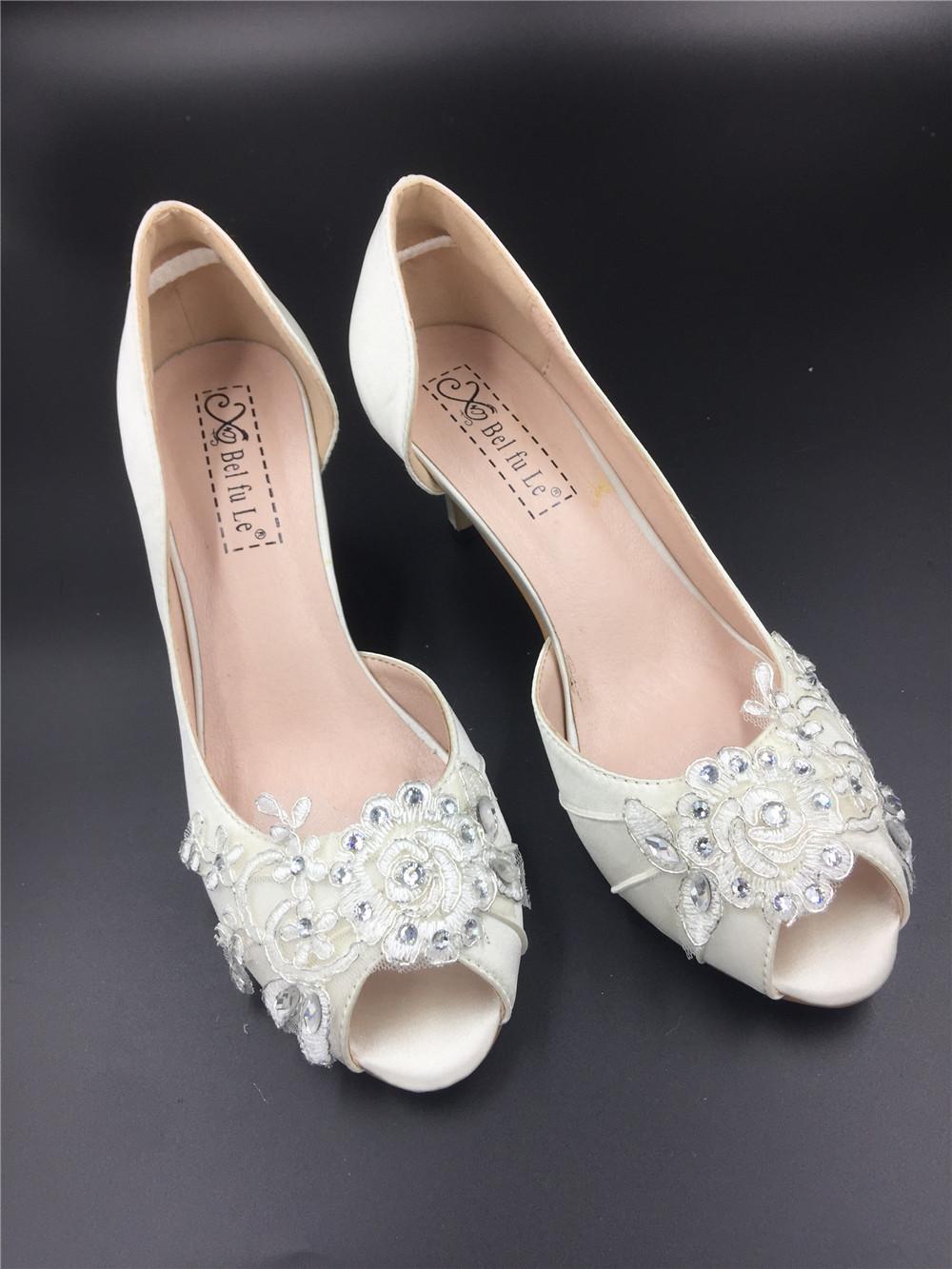 Ivory White Bridal Shoes,Lace Satin Wedding heels Shoes,Pump,Peep Toe Heels image 3