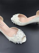 Ivory White Bridal Shoes,Lace Satin Wedding heels Shoes,Pump,Peep Toe Heels image 4