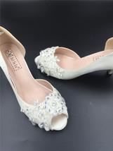 Ivory White Bridal Shoes,Lace Satin Wedding heels Shoes,Pump,Peep Toe Heels image 5