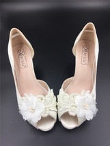 Ivory White Bridal Low Heels,Lace Satin Wedding heels Shoes,White Peep T... - $48.00