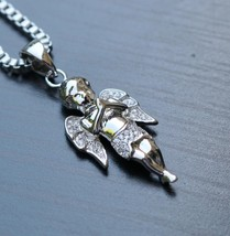 Hip Hop Angel Pendant Charm With White Gold Box Chain Necklace - $15.49