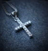 Hip Hop White Gold Cross Pendant With 24 Inch Box Chain - $16.42