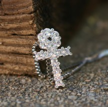 Mens's Hip Hop Mini White Gold  Ankh Cross Necklace - £16.46 GBP