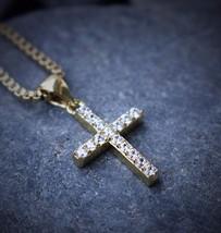 Hip Hop Mini Micro Gold Cross Pendant With 24 Inch Box Chain - $17.34