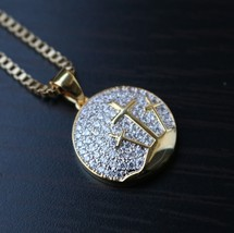 Hip Hop Gold Cross Pendant With 22 Inch Box Chain Necklace - $22.87