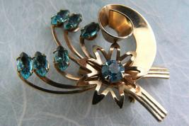 Vintage Gold Wash metal Blue Crystal Rhinestones Floral Flower Pin Brooch - $34.65