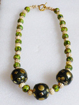Green glass & cream rose beaded 3 large ball toggle clasp fashion neckla... - $29.70