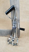 Vintage Ekco egg beater hand held manual mixer black handle USA stainless - $14.80