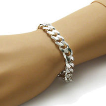 White Gold Plated 925 Sterling Silver Flat Cuban Link Chain Bracelet For Men's - £885.92 GBP