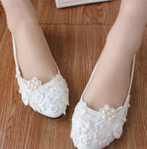 White Bridal Dance Shoes/Debutant Ball Shoes/White Ballet Flats Slippers - $38.00