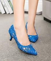 Blue See Through Lace Wedding Heels,RoyalBlue Lace Low Heels Bridal shoes - $48.00